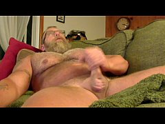 Fat Daddy Cums On His Hairy Belly During Gay Webcam Show