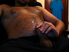 Gay Cam Bear Jerks Off And Cums On His Hairy Chest
