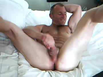 Muscle Daddy Masturbates Hard On The Bed