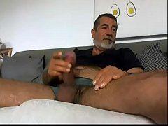 Older Man Rubbing His Mushroom Dick Live