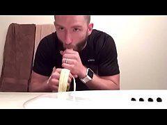 Bearded Stud Sucking On Banana